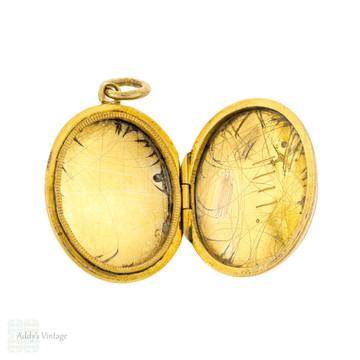 Victorian 15ct 15k Gold Engraved Locket, Antique Turquoise Paste & Faux Pearl Photo Pendant.