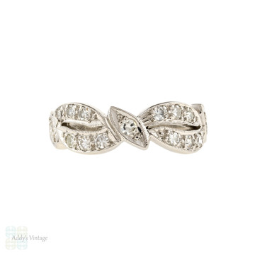 Platinum Mid Century Diamond Wedding Ring, Vintage 1940s Half Hoop Pierced Band.