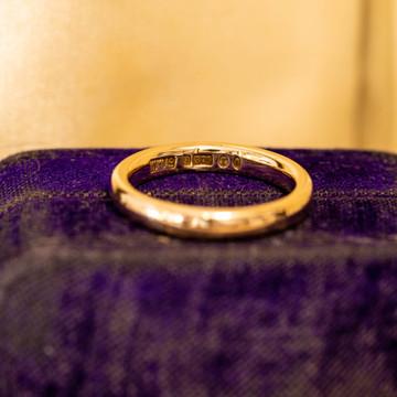 Art Deco 9ct 9k Gold Ladies Wedding Ring, Simple 1930s Band Size J.75 / 5.25.