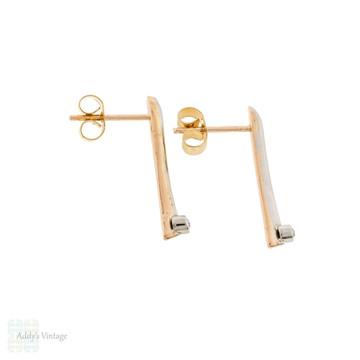 Old Cut Diamond Bar Earrings, Vintage Gold & Platinum Exclamation Point Diamond Studs.