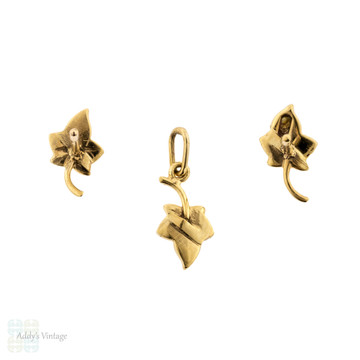 Leaf Stud Earring & Pendant Set, Grey Seed Pearl 9ct 9k Gold Victorian Conversion.