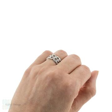 Diamond Eternity Wedding Ring, Vintage Platinum Full Hoop Anniversary Band Size O.5 / 7.5