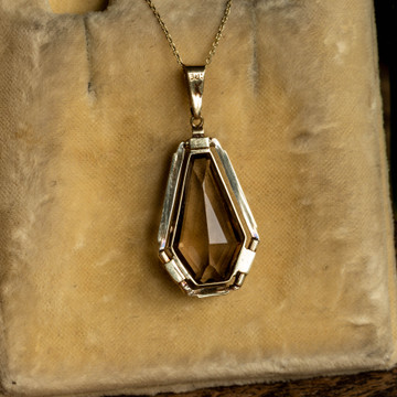 Vintage Smoky Quartz Pendant, Mid Century 14k 14ct Yellow Gold Engraved Design Edge.