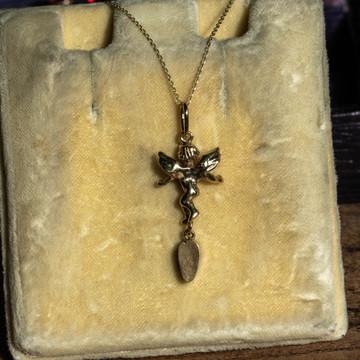 Angel Charm with Georgian Garnet Pear Drop, Antique Conversion 9ct Cherub Charm.