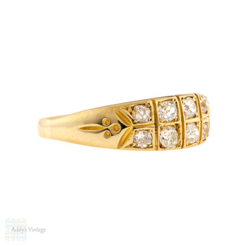 Antique Double Row Diamond Ring, Victorian 18ct 18k Wide Old Mine Cut Band.