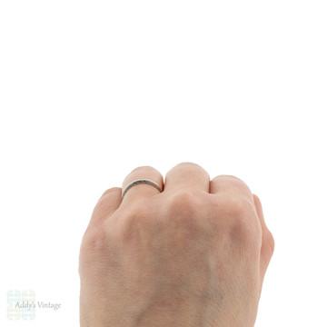 Platinum Engraved Vintage Wedding Ring, Slender Ladies Band with Engraved Sizes Size K / 5.25.