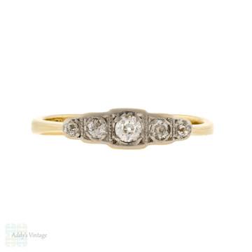 Old European Cut Diamond Ring, Antique Five Stone Band 18ct & Platinum.