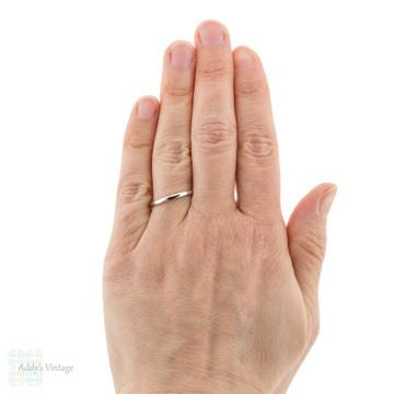 Vintage Slender Platinum Ladies Wedding Ring, Simple Narrow Spacer Band Size O.5 / 7.5.