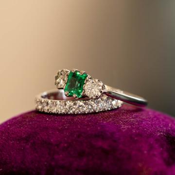 Emerald & Old Cut Diamond Vintage Engagement Ring, Art Deco Three Stone 18ct & Platinum.