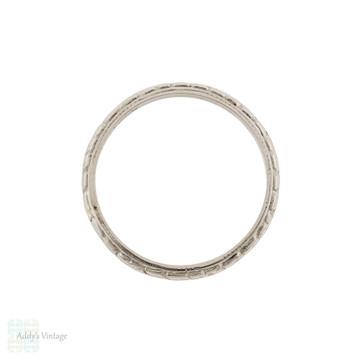 Floral Engraved Antique Platinum Wedding Ring, Slender Flower Band Size P / 7.75.