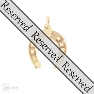 RESERVED Vintage 9k 9ct Gold Horseshoe Pendant, 1960s Lucky Horseshoe Charm.