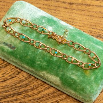 Antique 9ct Turquoise & Pearl Bracelet, 9k Rose Gold Curb Link Bracelet.
