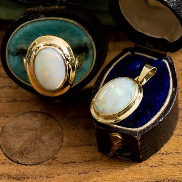Opal Bezel Set Pendant, Vintage 14k 14ct Yellow Gold Large Opal Cabochon.