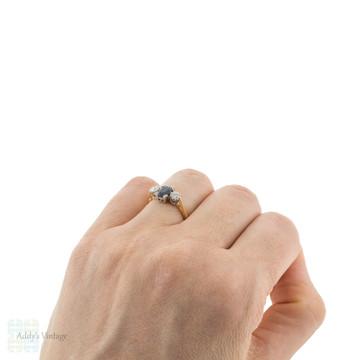 Sapphire & Diamond Engagement Ring, Vintage 18ct 18k Gold & Platinum Three Stone Ring.