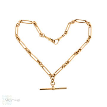 Vintage 9ct Trombone Chain, 9k Rose Gold 1920s Oblong Link Double Albert 15 Inches.