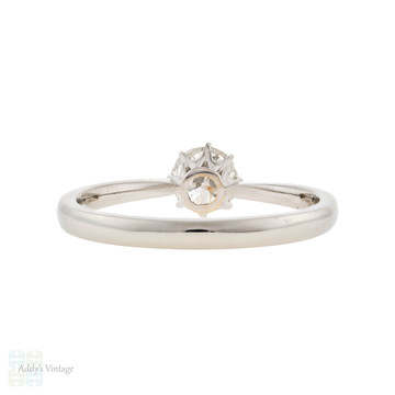 Vintage Diamond Engagement Ring, Platinum Crown Style 0.50 ct Solitaire Ring.