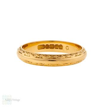 Vintage Engraved 22ct Gold Wedding Ring, 1970s Scroll Pattern 22k Ladies Band Size M / 6.25.