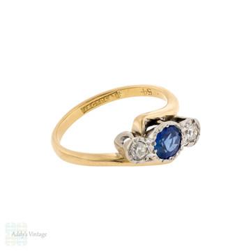 Sapphire & Diamond Three Stone Engagement Ring, Vintage Crossover Style 18ct & Platinum.