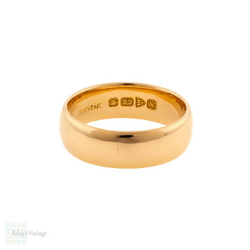 Antique Ladies 22ct Wedding Ring, Wide Heavy Chester 1910s 22k Gold Band Size K / 5.25.