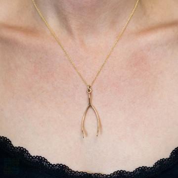 Large Vintage 9ct Gold Wishbone Pendant, Good Luck 9k Yellow Gold 1970s Hallmarked Charm.