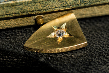Engraved Star Old Mine Diamond Shield Pendant, Victorian Conversion 9ct 9k Gold.