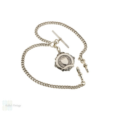 Victorian Sterling Silver Albert Chain, Antique Necklace with Dog Clip & T-Bar, 15 Inches.