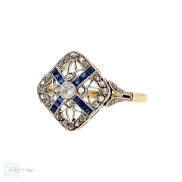 Filigree Sapphire & Old Rose Cut Diamond Panel Ring, Antique 18ct Gold Square Cluster.