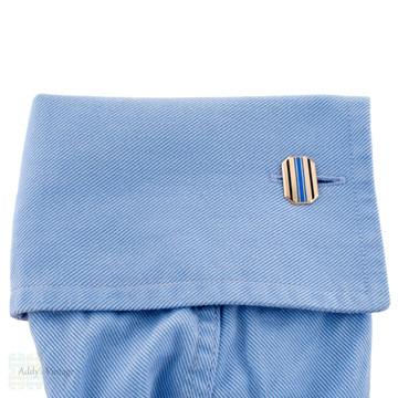 Edwardian 9ct Periwinkle & Black Enamel Cuff Links, Antique 9k Gold Blue Purple Cufflinks.