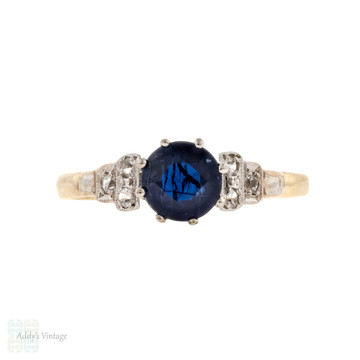 Sapphire Vintage Single Stone Ring with Stepped Synthetic Spinel Setting, 9ct & Platinum.