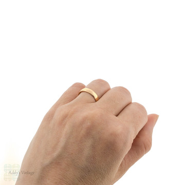 Art Deco 22ct Wedding Ring, Wide Vintage 1920s 22k Gold Band Size O / 7.25.