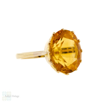 Large Golden Citrine Single Stone Ring, Vintage 9ct 9k Yellow Gold Cocktail Ring.