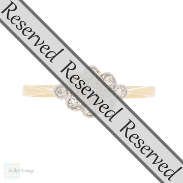 RESERVED Art Deco Diamond Cloud Shape Cluster Ring, Vintage 18ct & Platinum Engagement Ring.