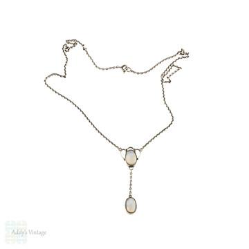 Vintage Sterling Silver Moonstone Necklace, Art Nouveau Style 44 cm / 17.25 inches.