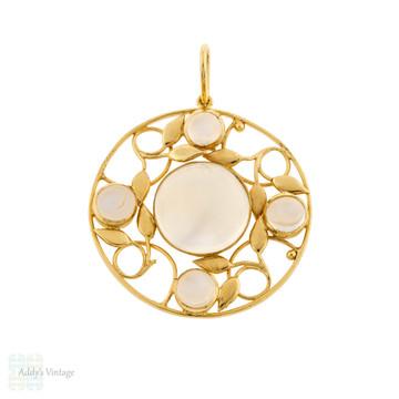 Vintage Moonstone Pendant, Leaf Design 14ct 14k Gold Wire Work.