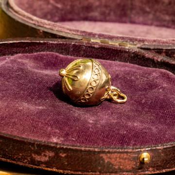 Victorian Pinchbeck Sphere Pendant, Antique Etruscan Revival Design Charm.