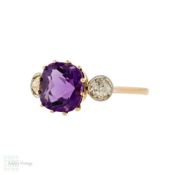 Amethyst & Old Cut Diamond Three Stone 18ct Gold Vintage Engagement Ring.