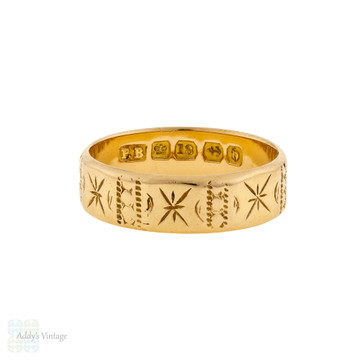 Antique Victorian 18ct Engraved Wedding Band, Ladies 1880s Cigar Ring Size L / 5.75.