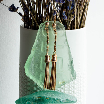 Antique 9ct Rose Gold Tassel Earrings, Long Knot Design Fancy Link Victorian Drops.