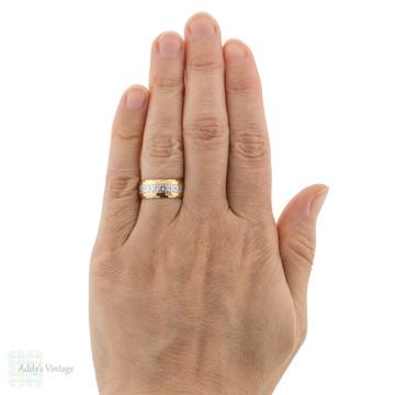 Vintage 22ct & Platinum Engraved Wedding Ring, Heavy Wide 22k Gold Band Size N / 6.75.
