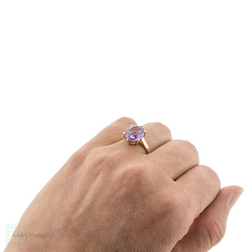 Vintage Amethyst Single Stone Ring, 9ct 9k Yellow Gold Solitaire Circa 1990s.