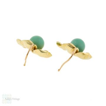 Turquoise Flower Drop Earrings, Vintage Mid Century 14ct 14k Yellow Gold Floral Earrings.