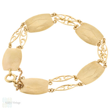 Engine Turned Vintage 9ct Yellow Gold Bracelet, Fancy Pierced Links 6.5 inches / 16.5 cm