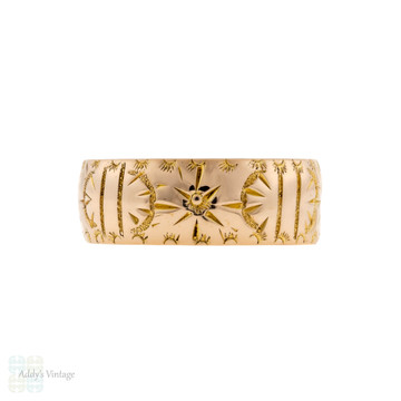 Wide Antique 9ct Gold Engraved Wedding Ring, Ladies Floral Cigar Band Size L.5 / 6.