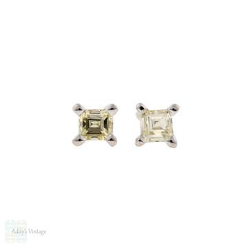 Square Carre Cut Diamond Stud Earrings, 14ct 14k White Gold 0.28 ctw.