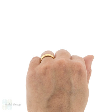 Antique Ladies 22ct Wedding Ring, Wide Heavy 1910s 22k Gold Band Size L / 5.75.