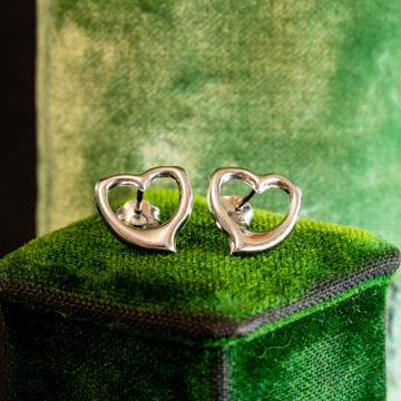 Heart Stud Earrings, 9ct 9k White Gold Open Love Hearts.