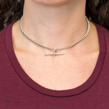 Art Deco Sterling Silver Fancy Link Chain Necklace, 1920s Hallmarks T-Bar & Dog Clip.
