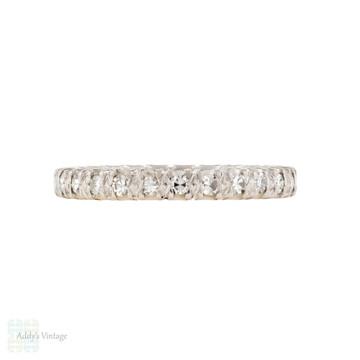 Diamond Eternity Wedding Ring, Vintage Platinum Full Hoop Band Size L.5 / 6.