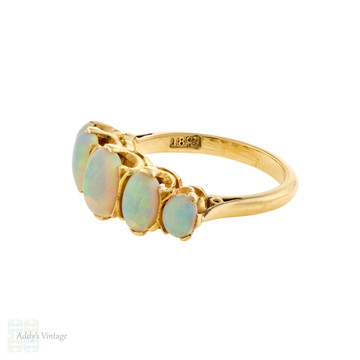 Opal Graduated Five Stone Ring, Vintage 18ct 18k Yellow Gold Band Circa 1930s.
