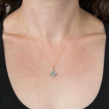 Edwardian Aqua & Seed Pearl Floral 15ct Gold Pendant, Antique Bezel Set Flower Necklace.